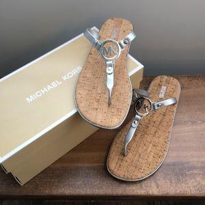 Michael Kors MK Charm Jelly Sandal Silver Size 10